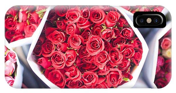 Bouquet iPhone Case - Red Roses Bouquet by Dew Scienartist