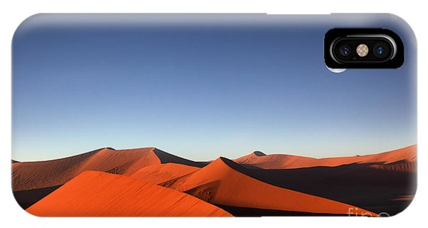 Red Sky iPhone X Case - Red Sand Dune With Full Moon by Dietmar Temps