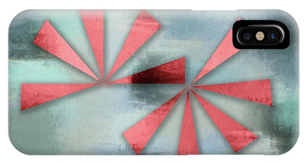 Red Triangles On Blue Grey Backdrop IPhone Case