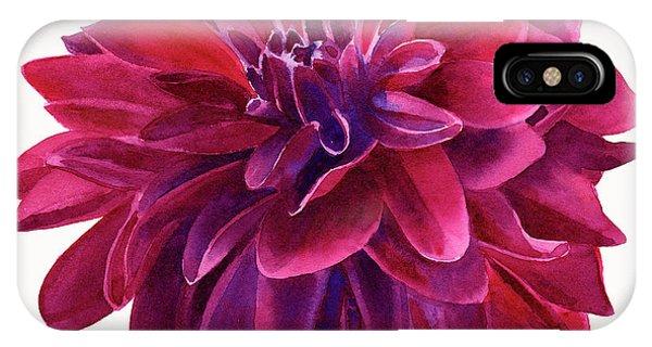 Dark Violet iPhone Case - Red Violet Dahlia Square Design by Sharon Freeman