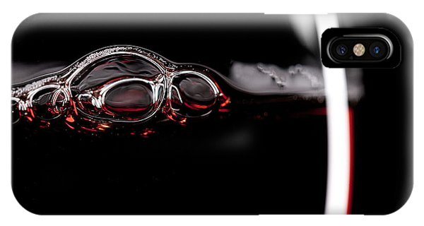Menu iPhone Case - Red Wine Glass Silhouette On Black by R.classen