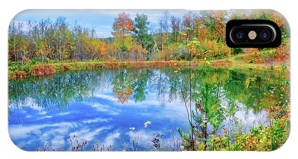 IPhone Case featuring the photograph Reflecting On Fall At The Pond by Lynn Bauer