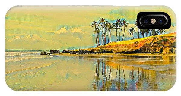 Reflection Of Coastal Palm Trees IPhone Case