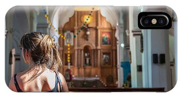 Christianity iPhone Case - Religious Scene Young Female Praying At by Dc aperture