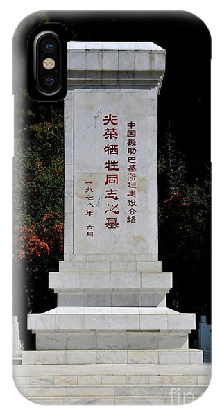 Remembrance Monument With Chinese Writing At China Cemetery Gilgit Pakistan IPhone Case