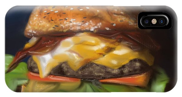 IPhone Case featuring the pastel Renaissance Burger  by Fe Jones