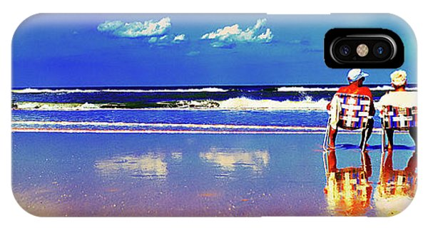 IPhone Case featuring the photograph Retieiees Lawn Chairs On The Beach Surf  by Tom Jelen
