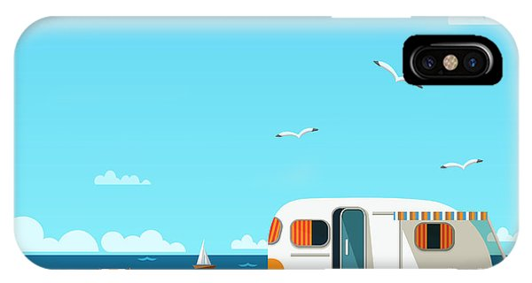 Trip iPhone Case - Retro Caravan On The Beach, Summer by Skoreya
