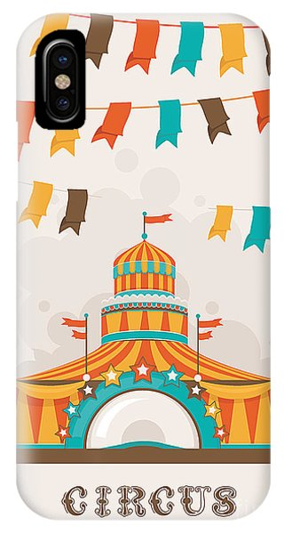 Open iPhone Case - Retro Circus Poster With A Big Top by Alexey Vl B