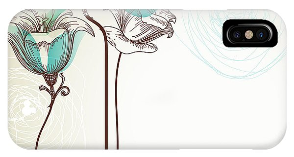 Space iPhone Case - Retro Floral Background by Danussa