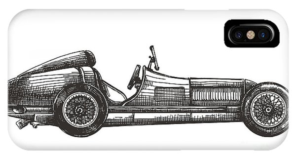 White Background iPhone Case - Retro Racing Car On A White Background by Ava Bitter