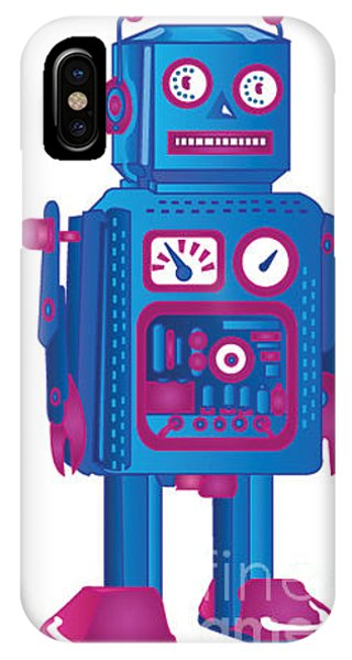 Red Sky iPhone X Case - Retro Robot 1 by Adam Hicks