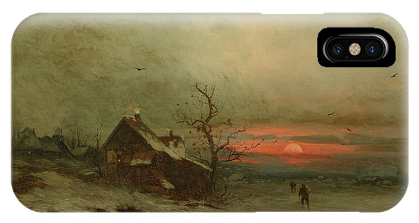 Barn Snow iPhone Case - Returning Home At Sunset by Friedrich Nicolai Joseph Heydendahl