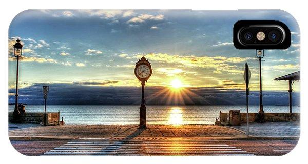 Revere Beach Clock At Sunrise Angled Long Shadow Revere Ma IPhone Case