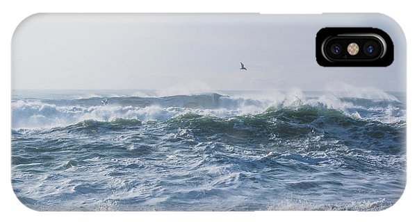 IPhone Case featuring the photograph Reynisfjara Seagull Over Crashing Waves by Nathan Bush