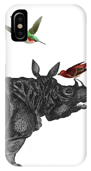 Humming Bird iPhone Case - Rhinoceros With Birds Art Print by Madame Memento