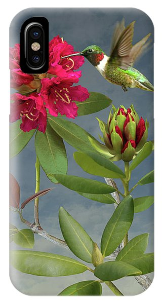 Shrub iPhone Case - Rhododendron And Hummingbird by M Spadecaller