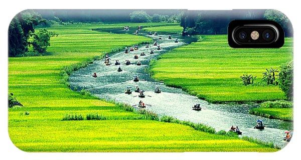 Horticulture iPhone Case - Rice Field And River, Ninhbinh, Vietnam by John Bill