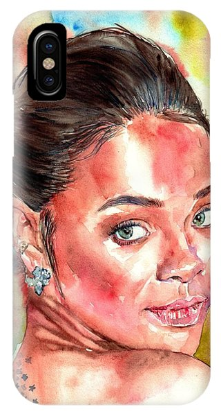 Coldplay iPhone Case - Rihanna Portrait by Suzann Sines