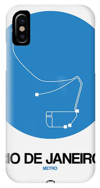 Brazil iPhone X Case - Rio De Janeiro Blue Subway Map by Naxart Studio