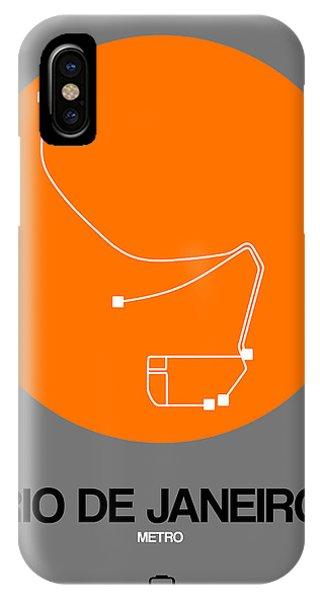 Brazil iPhone X Case - Rio De Janeiro Orange Subway Map by Naxart Studio