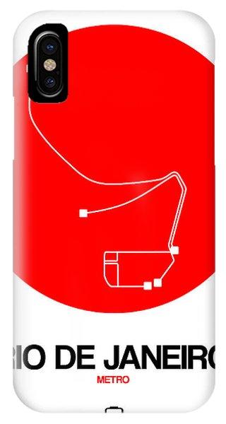 Brazil iPhone X Case - Rio De Janeiro Red Subway Map by Naxart Studio