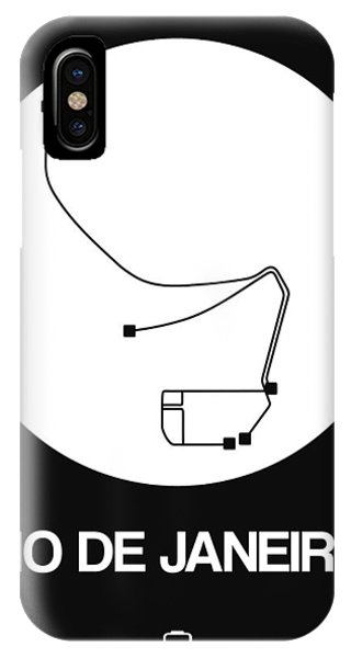 Brazil iPhone X Case - Rio De Janeiro White Subway Map by Naxart Studio