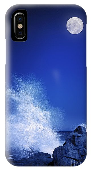 Shooting iPhone Case - Rising Moon Over Rocky Coastline At by Johan Swanepoel