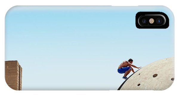 Beams iPhone Case - Risky Man On The Edge by Mooshny