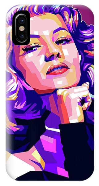 Rita Hayworth Illustration IPhone Case