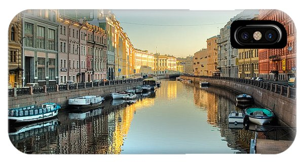 Cafe iPhone Case - River Channel With Boats In by Sergei Butorin