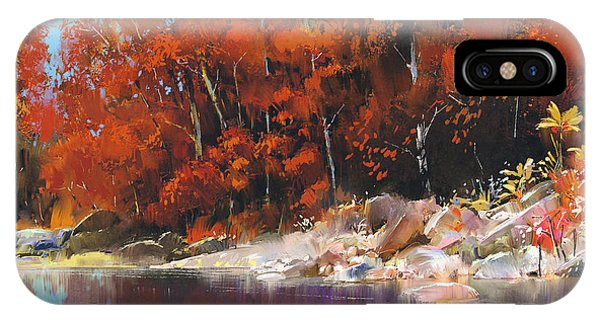 Peaceful iPhone Case - River In The Autumn Forest,landscape by Tithi Luadthong