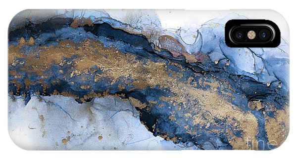 River Of Blue And Gold Abstract Painting IPhone Case