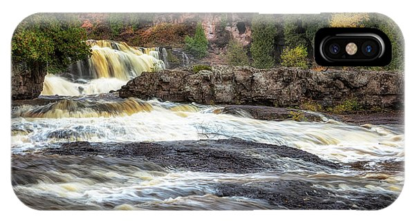 IPhone Case featuring the photograph Roaring Gooseberry Falls by Susan Rissi Tregoning