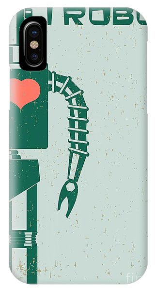 Space iPhone Case - Robot With Heart On Chest, Retro Poster by Pgmart