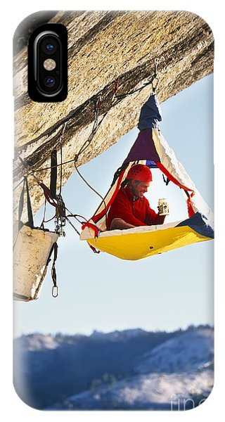 Strength iPhone Case - Rock Climber Bivouacked In His by Greg Epperson