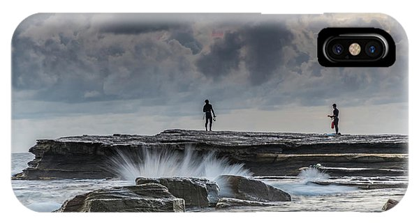 Rock Ledge, Spear Fishermen And Cloudy Seascape IPhone Case