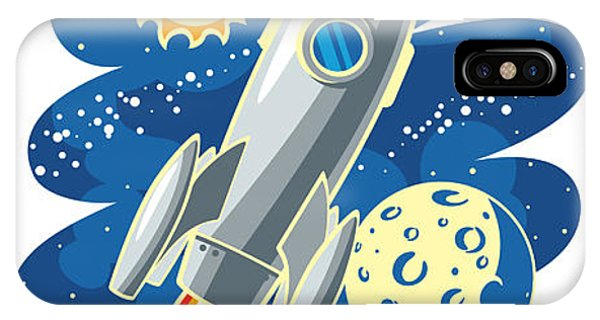 Space iPhone Case - Rocket Flying Through Outer Space by Biterbig