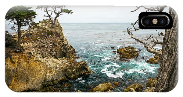 Monterey iPhone Case - Rocky Cliff And Trees In Carmel Near by Lynn Yeh
