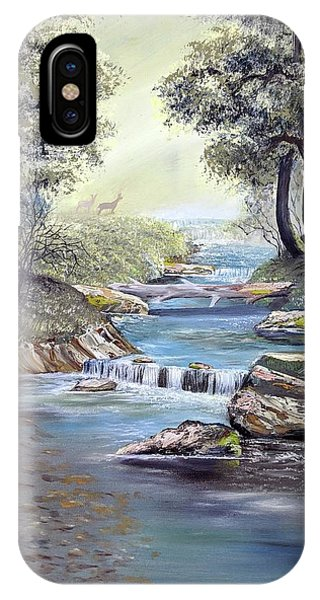 IPhone Case featuring the painting Rocky Stream by Deleas Kilgore