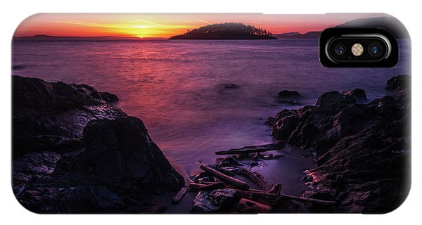 Whidbey iPhone Case - Rocky Beach Shades Of Sunset Light by Mike Reid