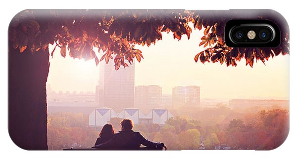 Park Bench iPhone Case - Romantic Couple On A Bench By The River by Alessandram