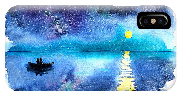 Shooting iPhone Case - Romantic Starry Night Lake View With by Katerina Izotova Art Lab