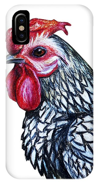 Small iPhone Case - Rooster Decorative Portrait Drawing by Viktoriya art