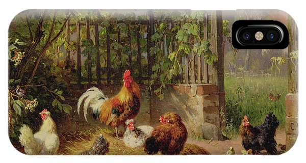 Barnyard iPhone Case - Rooster With Hens And Chicks by Carl Jutz