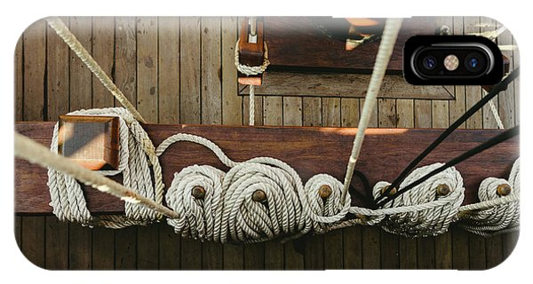 Ropes To Hold The Sails Of An Old Sailboat Rolled. IPhone Case