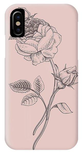 Bouquet iPhone X Case - Rose Blush Pink Flower by Naxart Studio