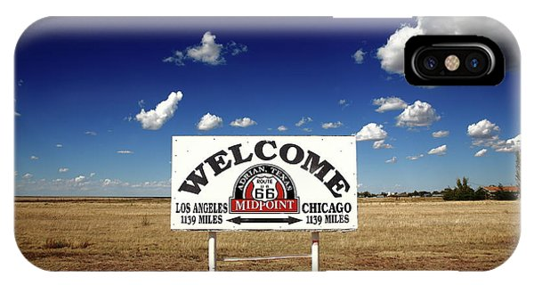 Route 66 - Midpoint Sign 2010 Bw IPhone Case