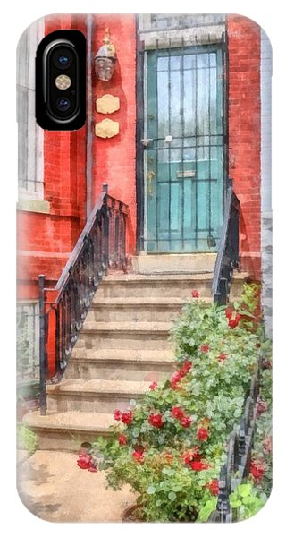 Brownstone iPhone Case - Row Houses Washington Dc 2 Watercolor by Edward Fielding