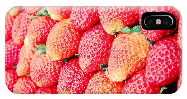 Ripe iPhone Case - Row Of Fresh Strawberry With Retro by Happydancing